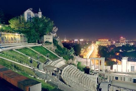 The ancient theatre on the top of the city