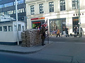 Checkpoint Charlie (it divides East Berlin from West Berlin)