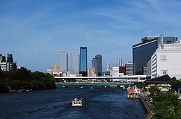 Osaka from the bridge of Okawa river