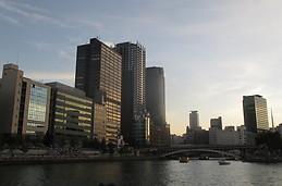 Osaka from Okawa river