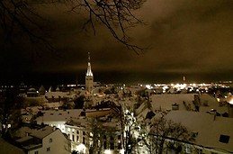 Snowy old town
