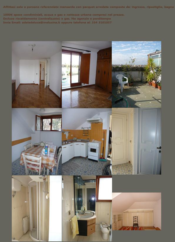Bellissima mansarda arredata appartamenti in affitto roma for Mansarde arredate