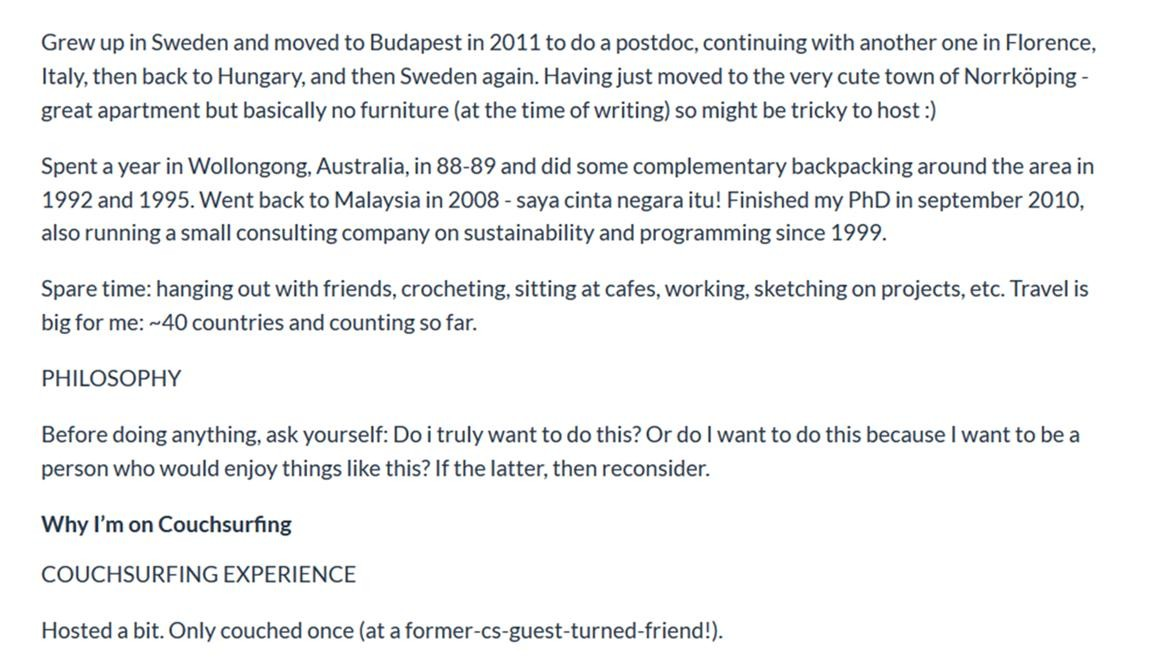 couchsurfing how to write a request