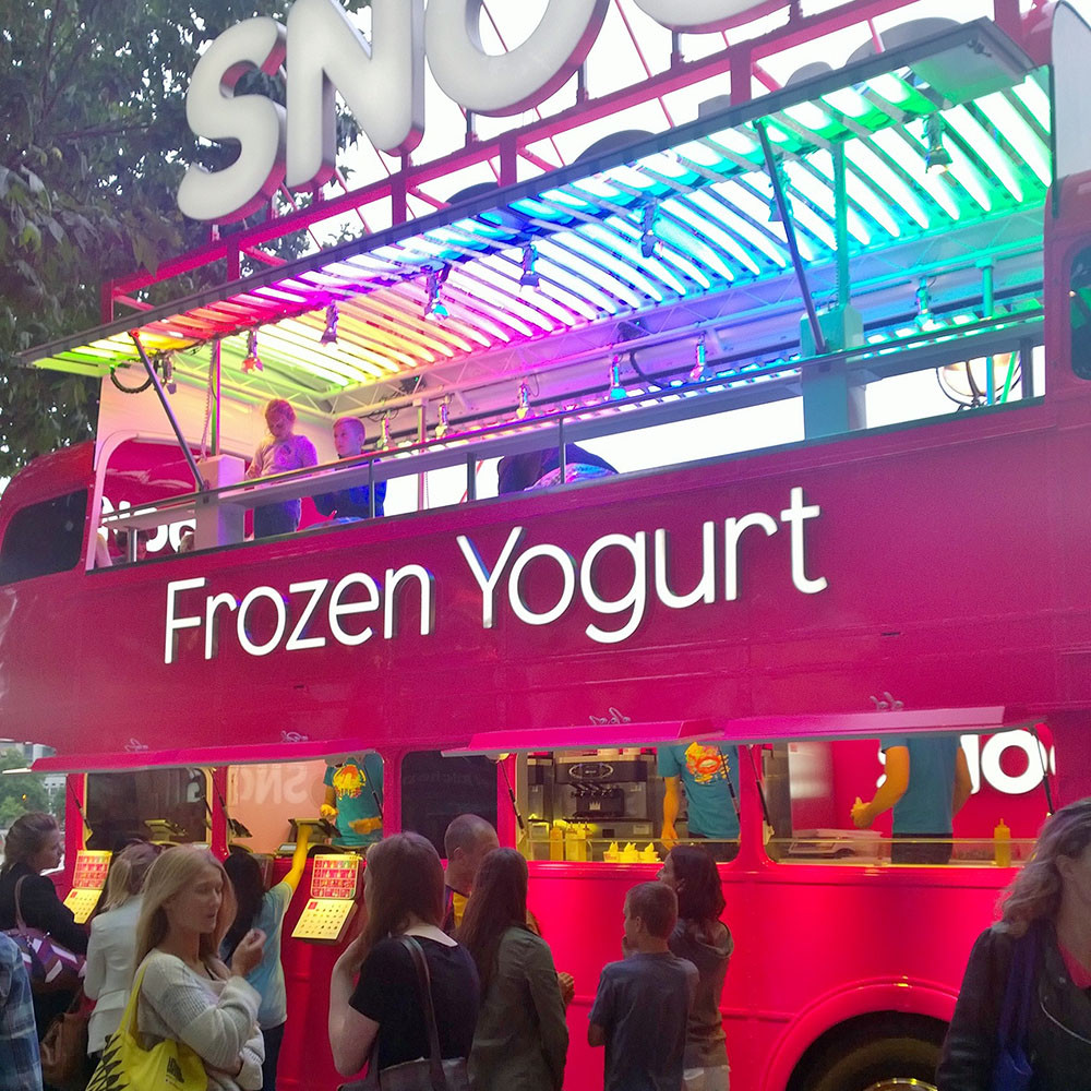 Eat frozen yogurt in central London.