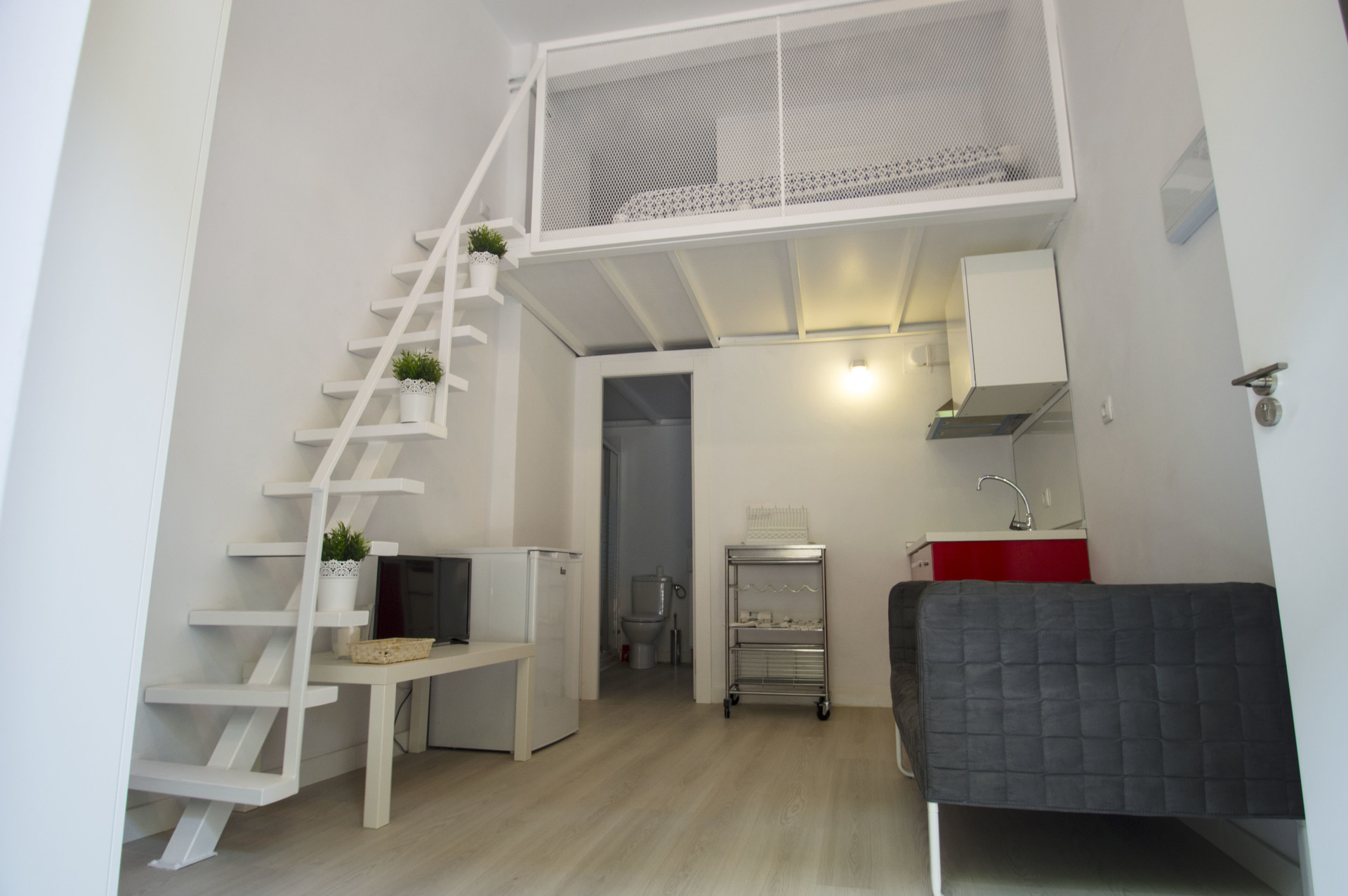 Modern studio apartment with AC and mezzanine floor for rent in the best  area of the city