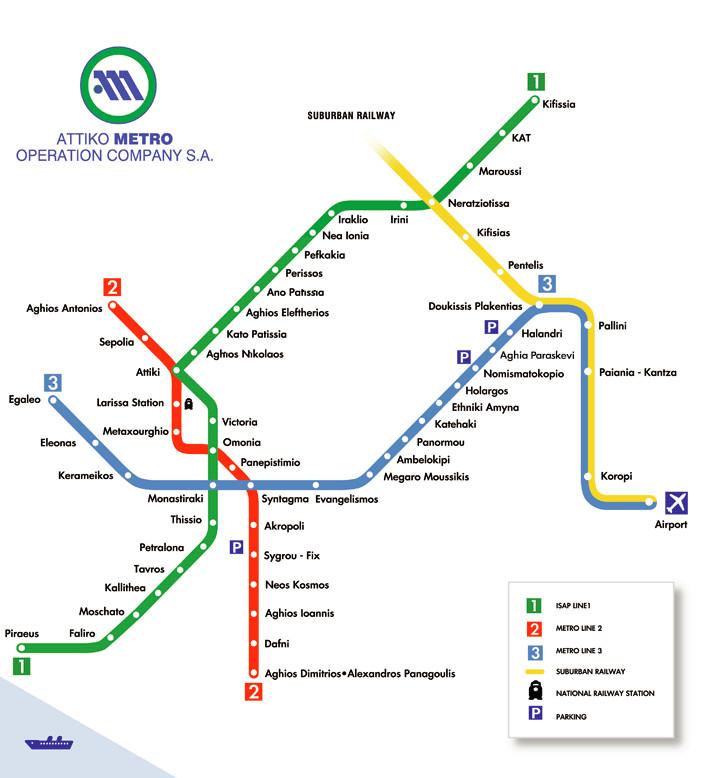 Sistema de transportes de Atenas: metro