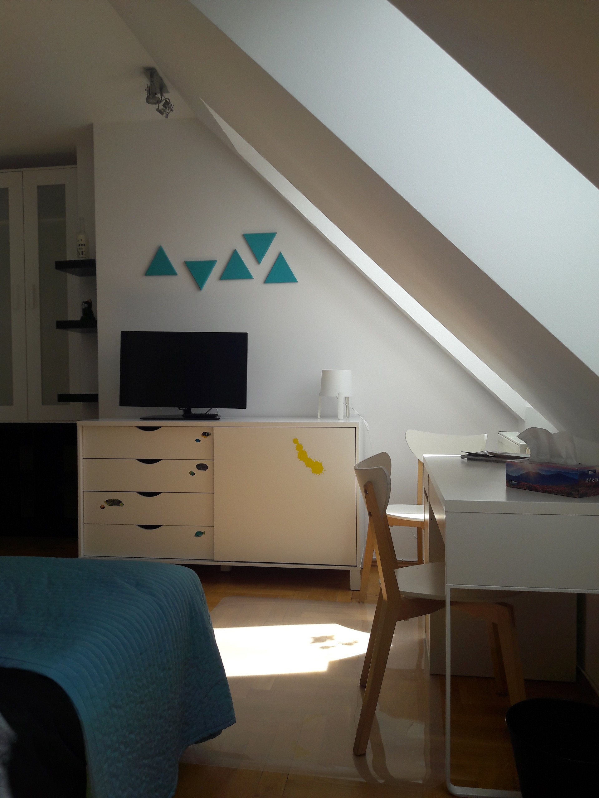 sunny room with a large bed, high standard