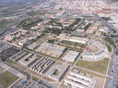 Vista aérea de la Universidad en la actualidad