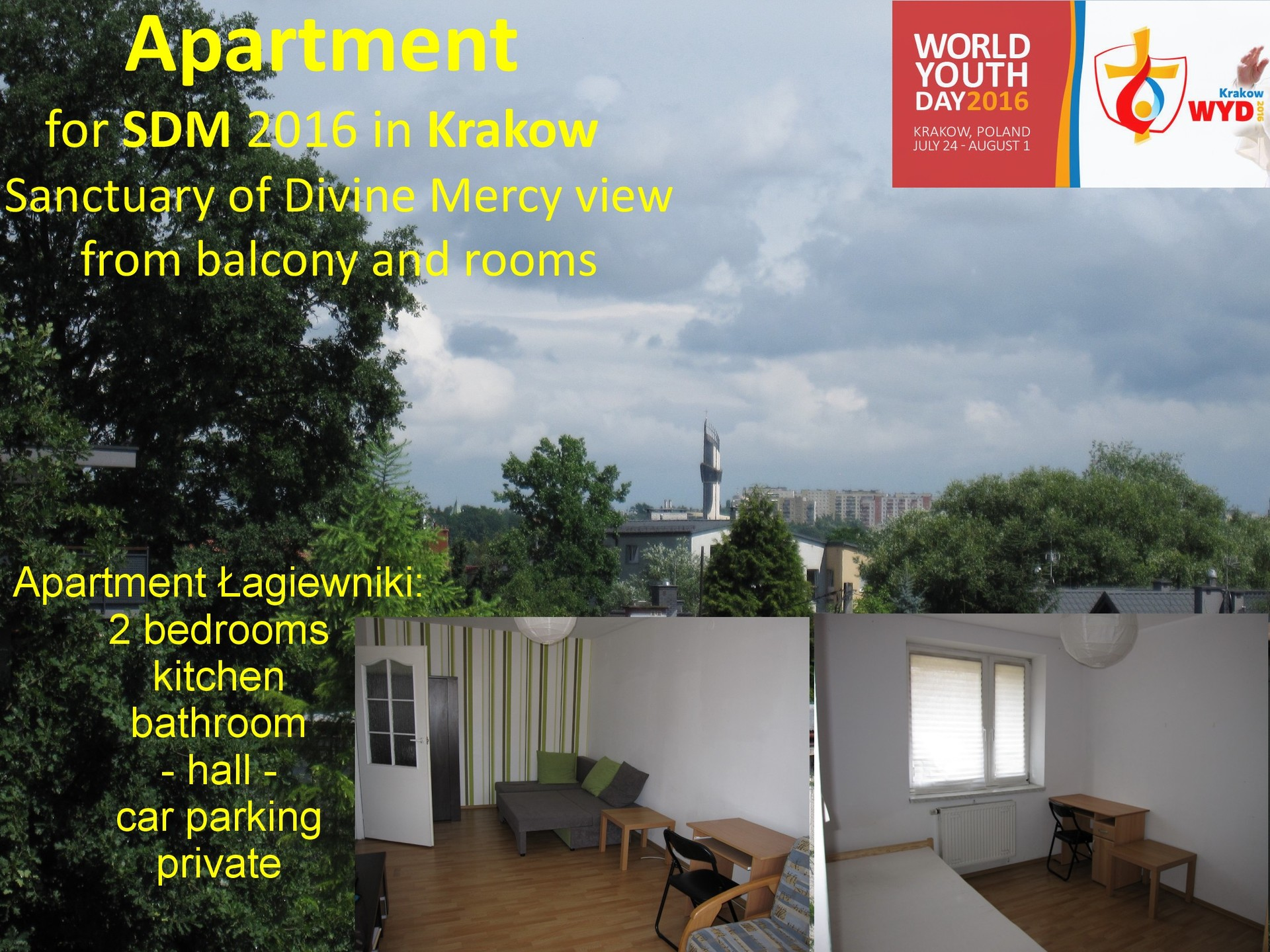 WYD 2016: 2 Bedroom Apartment Flat Short Term Let / Rental In Kr ...